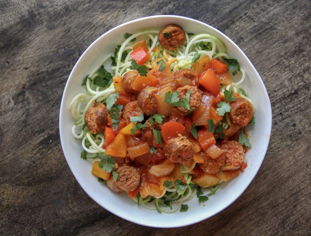 how to cook zoodles with red sauce